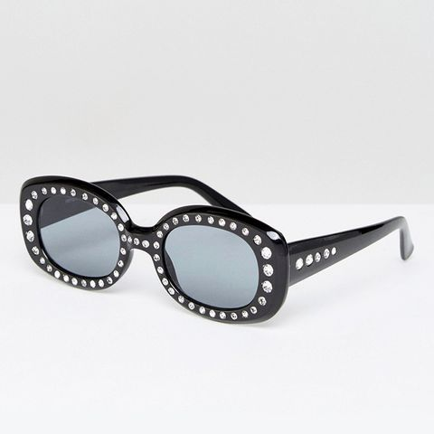 '90s Square Embellished Sunglasses
