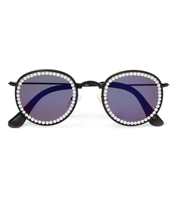 Vic Embellished Faux Leather-trimmed Round-frame Metal Sunglasses