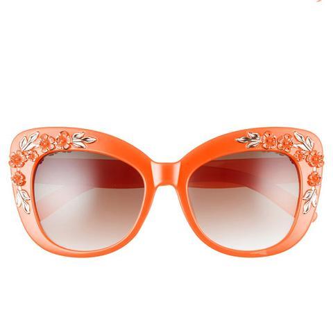 58mm Floral & Leaf Embellished Cat Eye Sunglasses