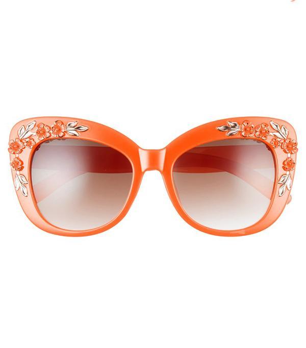 58Mm Floral & Leaf Embellished Cat Eye Sunglasses -