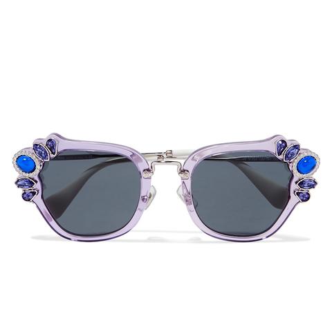 Crystal-Embellished Cat-Eye Acetate Sunglasses