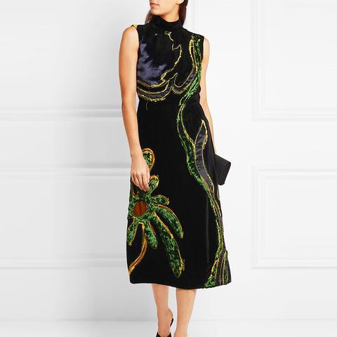 Appliquéd Paneled Velvet Dress