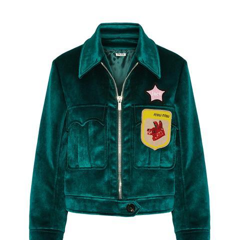 Appliquéd Velvet Bomber Jacket