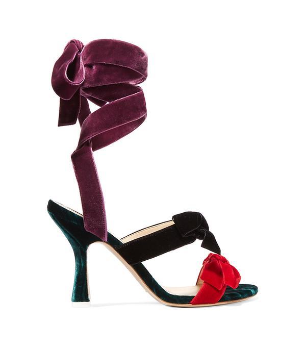 Diletta Bow-embellished Velvet Sandals