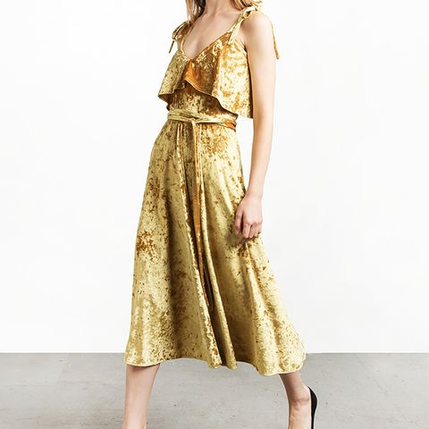 Marigold Velvet Tie Midi Dress