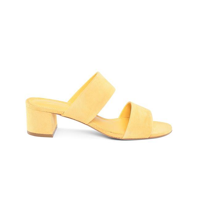 Mansur Gavriel Suede 40MM Double Strap Sandal in Sun