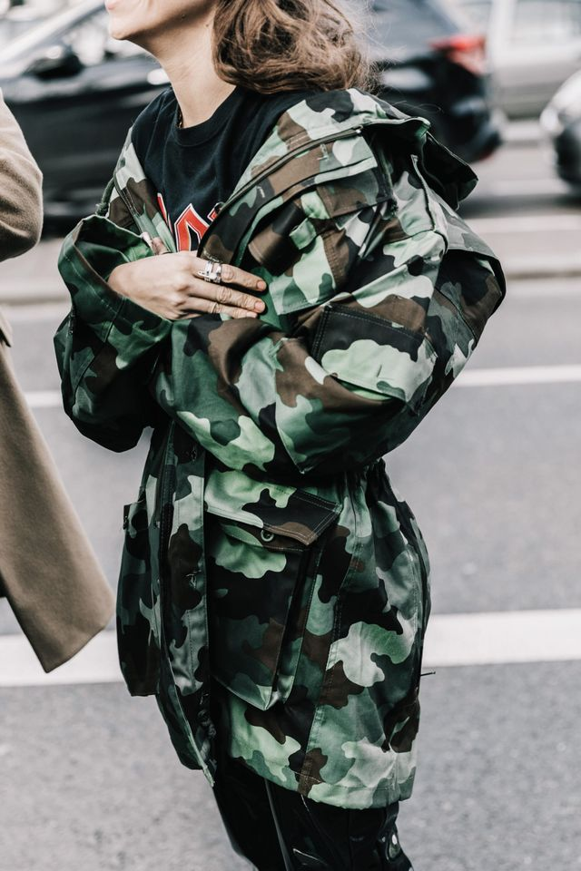 Street style ACDC T-shirt and camo jacket
