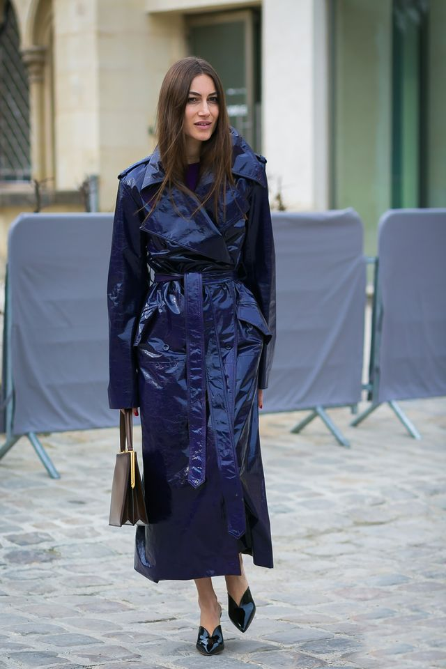 Giorgia Tordini wearing a patent trench