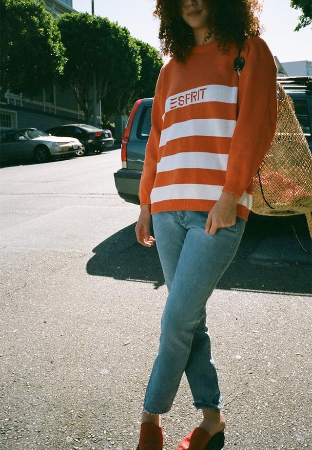 Espirit Striped Sweater in Orange/White