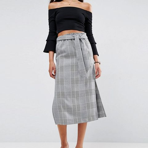 Check Paperbag Column Skirt