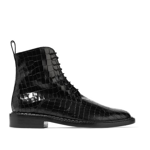 Jacenc Glossed Croc-Effect Leather Boots