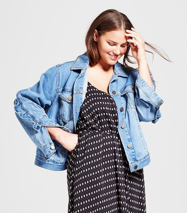 Who What Wear Plus Size Ruffle Light Wash Denim Jacket