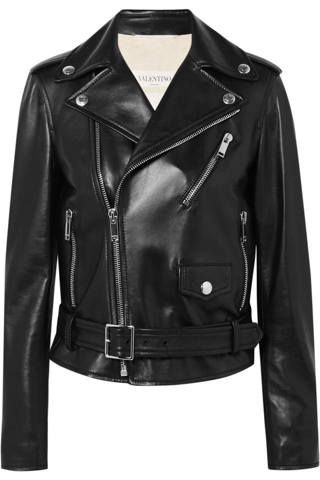 Valentino The Rockstud Embellished Leather Biker Jacket