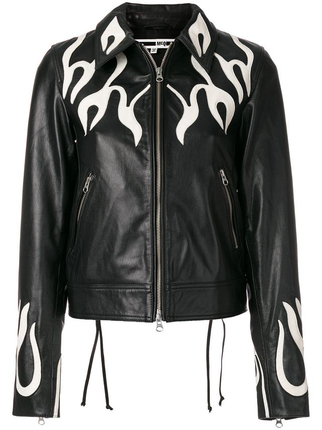 McQ Alexander McQueen Flame Effect Leather Jacket