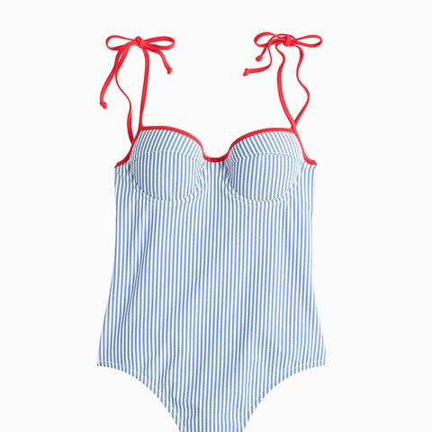 Tipped Seersucker Underwire Shoulder Tie One Piece Swimsuit