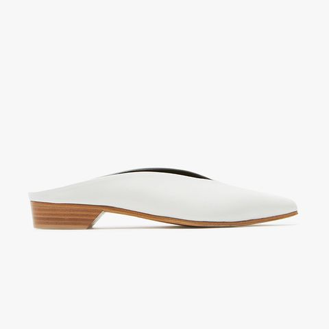 Pointy Almond Mules in White