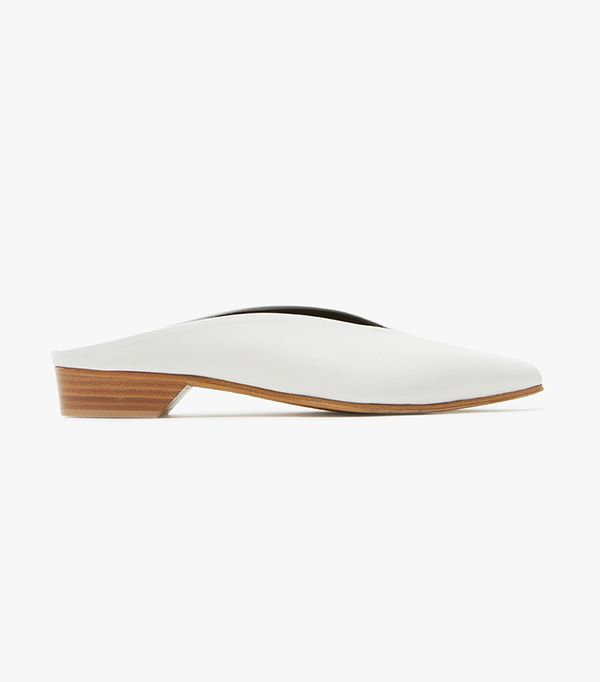 Pointy Almond Mule in White