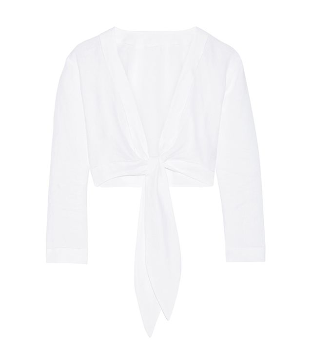 Cropped Pointelle-trimmed Linen Top