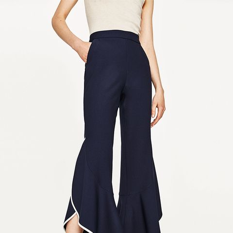 Contrasting Frill Trousers