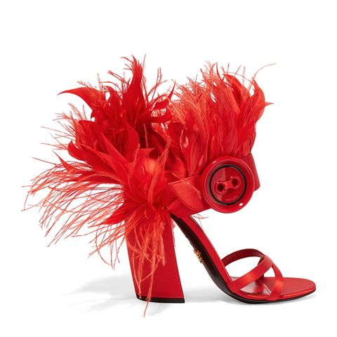 Feather-Trimmed Sandals