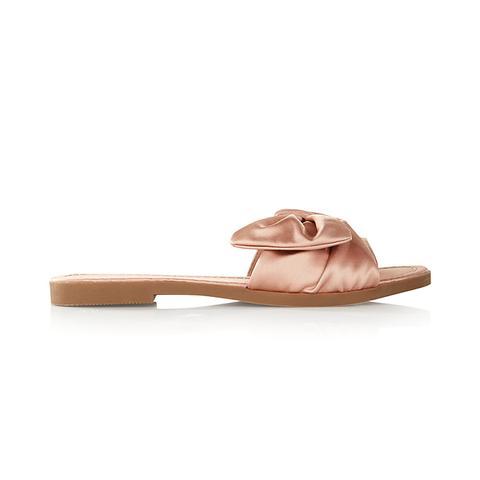 Satin Bow Slide Sandal