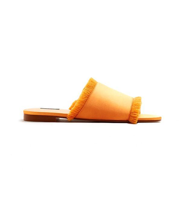 Fringe Satin Sandals