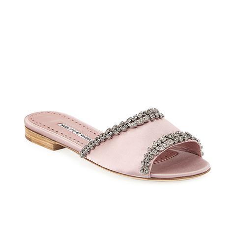Triunslo Embellished Satin Flat Slide Sandals