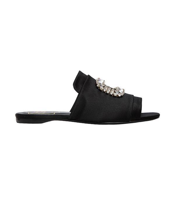 10mm Pilgrim Buckle Satin Slide Sandals