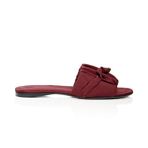 Asymmetric-Ruffle Satin Slude Sandals