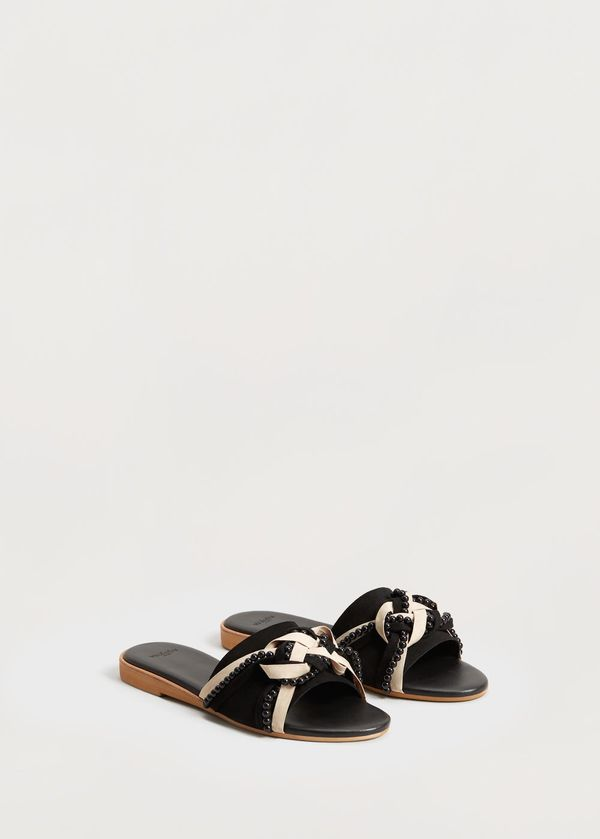 Metal-bead leather sandals