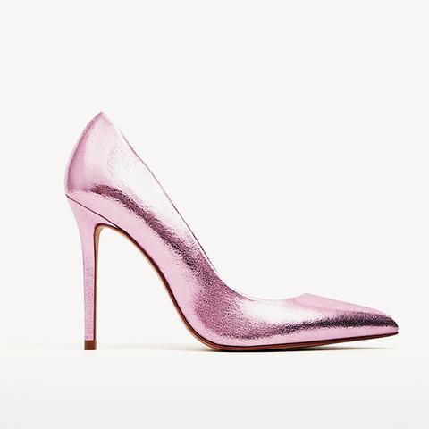 Metallic High Heel Leather Shoes