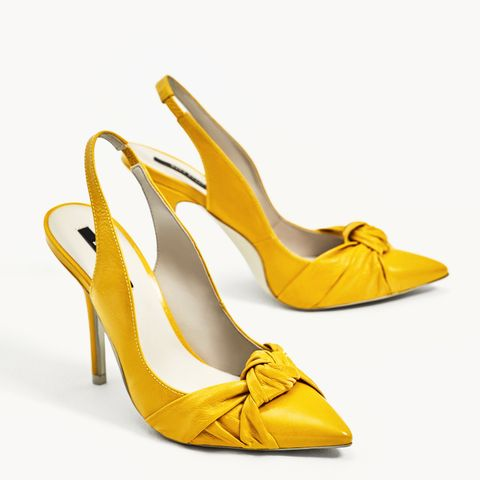 Knotted Leather High Heel Slingback Shoes