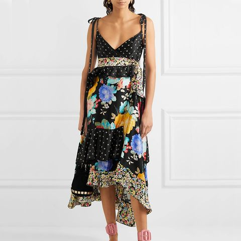 Carmen Ruffled Embroidered Floral-Print Silk-Satin Midi Dress