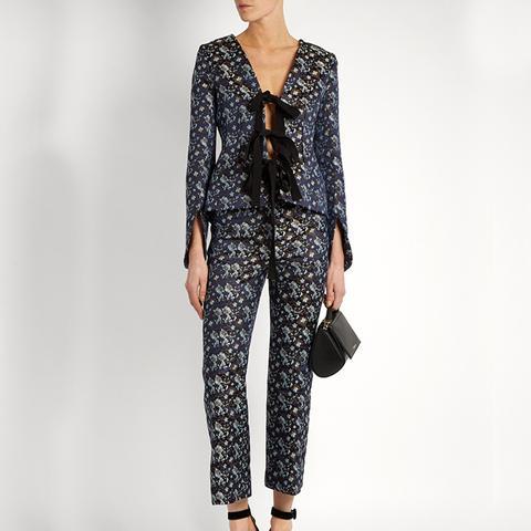 Mila Tie-Front Flora-Jacquard Jacket