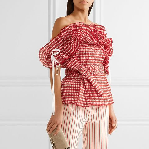Iris Off-the-Shoulder Ruffled Gingham Seersucker Top