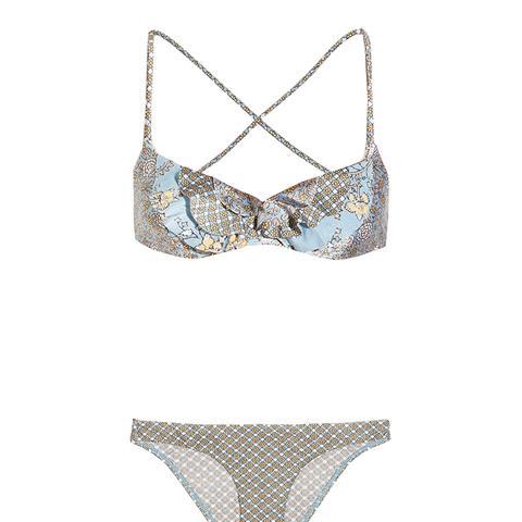 Caravan Ruffled Printed Bikini