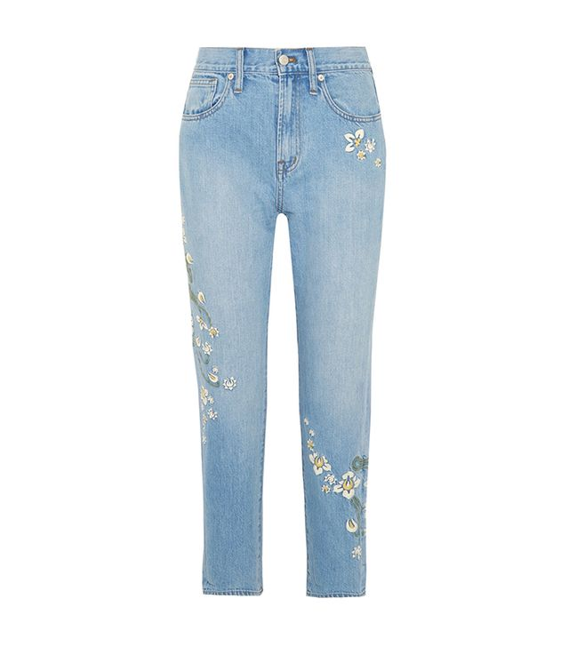 Embroidered High-rise Straight-leg Jeans