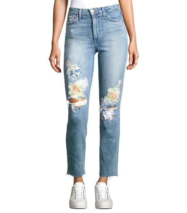 Debbie Crop Distressed Straight-Leg Jeans