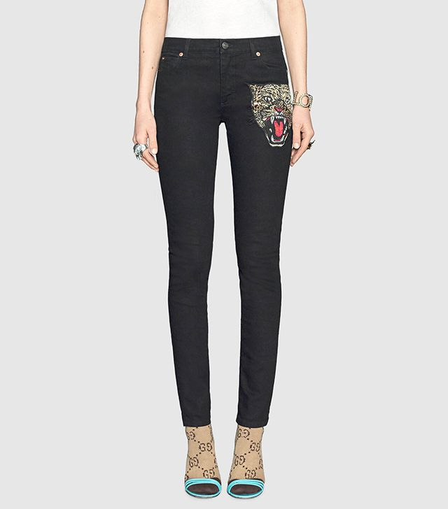 Angry cat embroidered denim pant