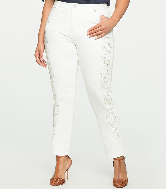 Eloquii Studio Embroidered Skinny Jeans