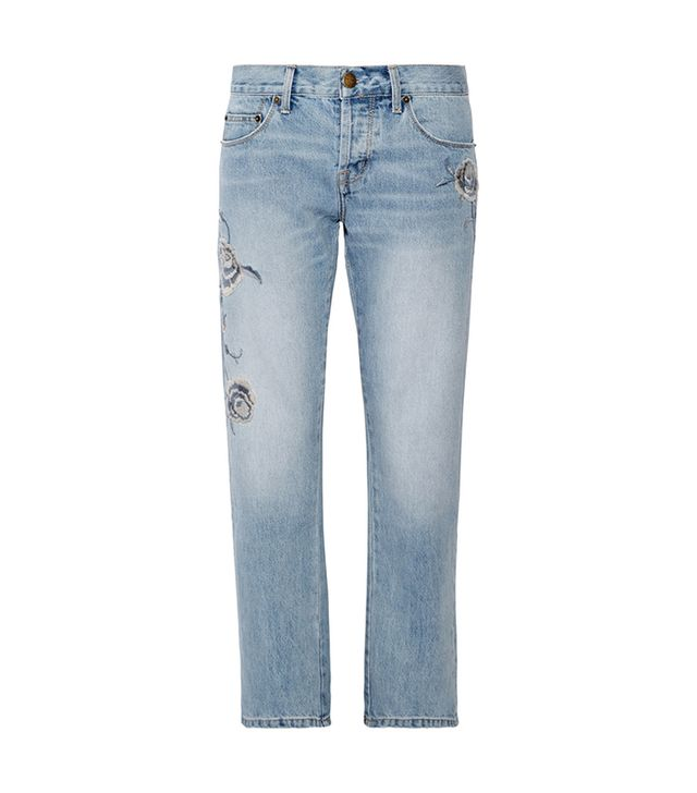 The Crossover Embroidered Mid-rise Straight-leg Jeans