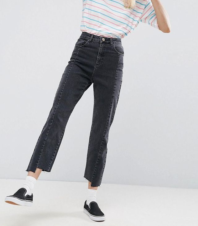 Deconstructed Straight Leg Jeans in Washed Black