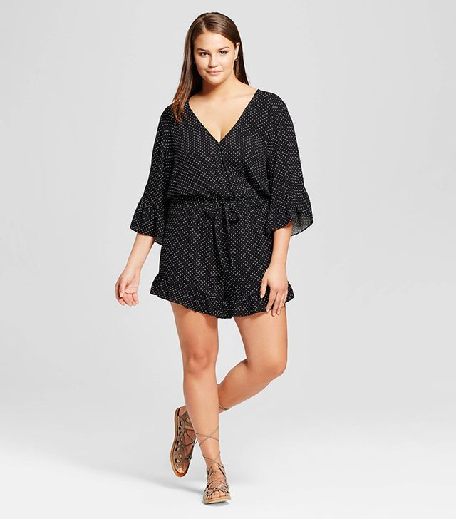 Who What Wear Plus Size Belted Ruffle Romper