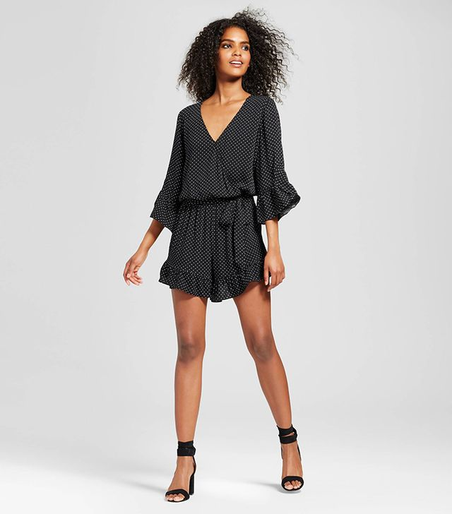 Who What Wear Belted Ruffle Romper