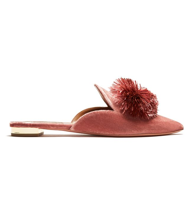 Powder Puff velvet backless flats