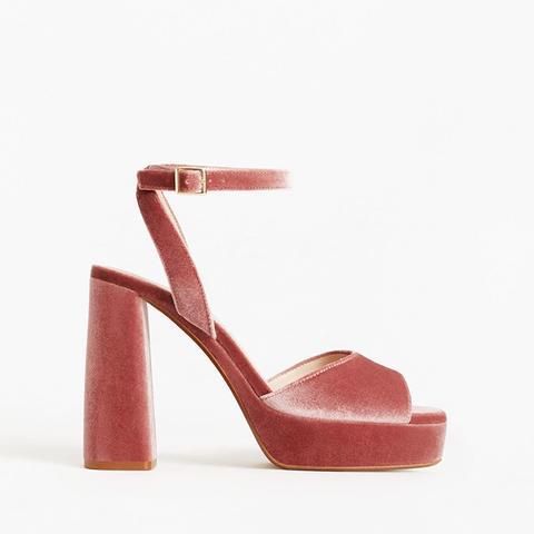 Platform Velvet Sandals