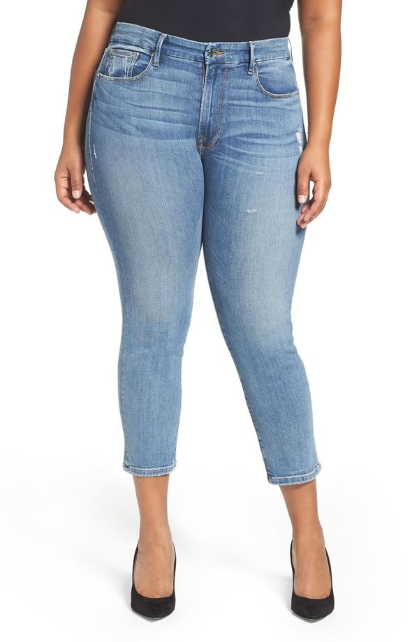 Plus Size Women's Good American Good Cuts High Rise Boyfriend Jeans