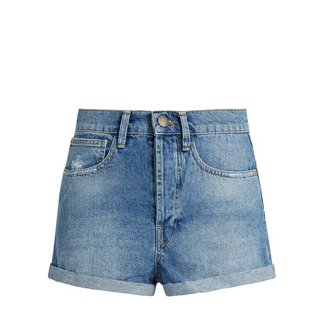 Low cut-off denim shorts