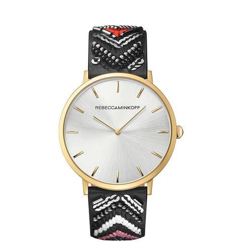 Major Silver Tone Wonder Leather Watch