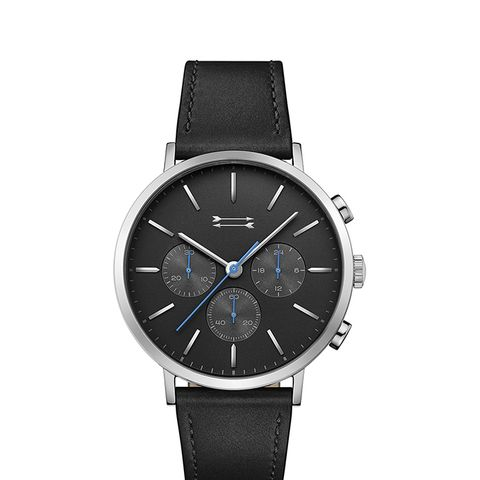 Griffith Silver Tone Leather Watch